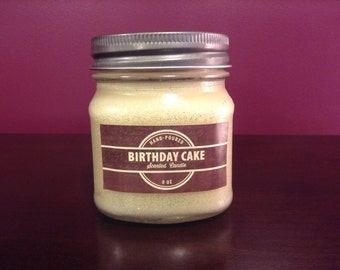 8 oz Birthday Cake Scented Handmade Soy Candle - Frosted Glass Candle - Container Candle