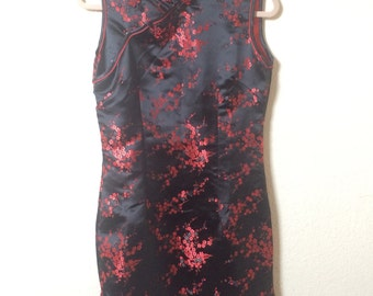 Oriental style red and black dress