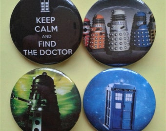 Set of 4 25mm Doctor Who badges