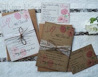 Vintage Hibiscus Wedding Invitation - SAMPLE ONLY