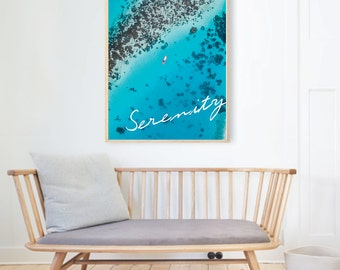 SERENITY ocean reef photography typography wall art print