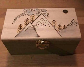Handcrafted Tea box with 10 hand blended teabags of your choice. Mountain design, herbal tea. Gift for all