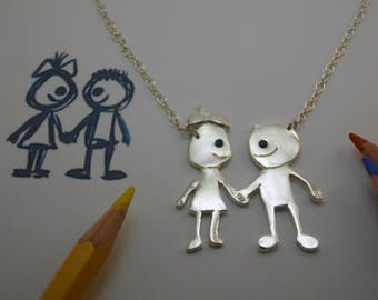Immortalize your child's drawing in art jewelry - 925 silver pendant-