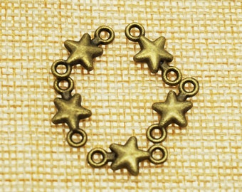 Star Charms -50 pieces Antique Bronze Empty Stars Charm Pendants 15mm x 8 mm (501-13-C)
