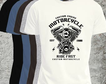 Biker T-Shirt, Mens or Flattering Fit Women's, Custom Engine, Motorcycle,  Live to Ride, Take The Long Road