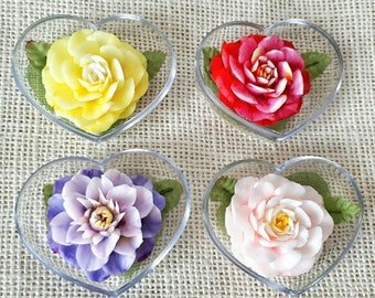Blooming Flower Set of 4 Hand Carved Soaps, Jasmine Scented, Handmade Flower Soap Carving by Thai Artisan, Flower Shape Soap in Heart Box