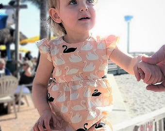 Organic baby dress, Baby birthday dress, Baby shower gift, Baby special occasion dress, Spring baby dress, Baby swans, Baby girl gift, peach