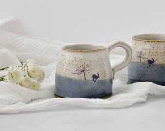 Rustic ceramic mug with hare image in shades of blue and white - handmade stoneware pottery