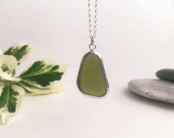 Sea glass necklace, olive green, sea glass jewellery, handmade jewellery, sterling silver, unique, beach, bohemian, hippie, gifts for her
