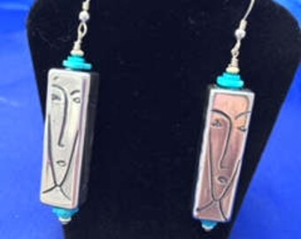 Art Deco Face Earrings