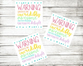 Funny Warning Labels - Packaging Stickers - Fun Packaging Supplies - Warning Stickers - Cute Package Labels - Cute Warning Stickers