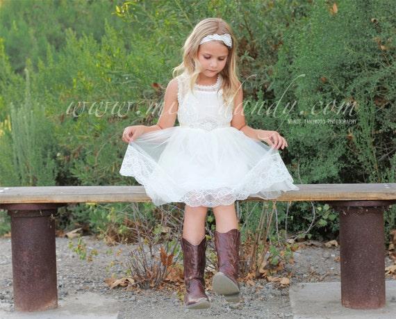 Lace girl dress, White flower girl dress, White flower girl lace dresses, Tulle flower girl dress, Country lace dress,Rustic flower girl