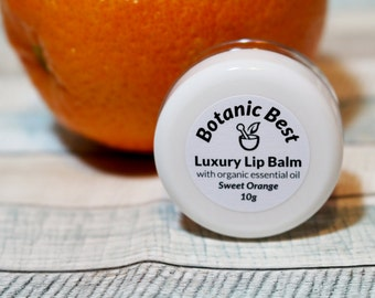 Luxury Lip Balm with Organic Essential Oil  Sweet Orange