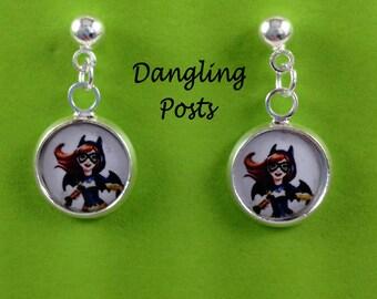 Supergirls earrings,you choose image,batgirl,supergirl,wondergirl,harley quinn,poison ivy,jewelry,necklaces,dc supergirl charms,bracelets