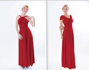 Middle red infinity dress , Free-Style Dress, convertible dress, Floor length dress