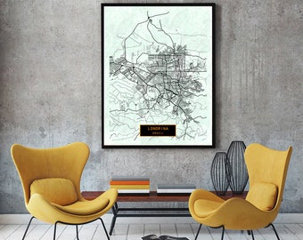 LONDRINA Brazil CANVAS Large Art City Map Londrina Brazil Art Print poster map art jt JackTravelMap