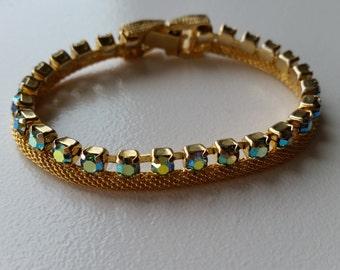 Gold Mesh Bracelet with Aurora Borealis Stones