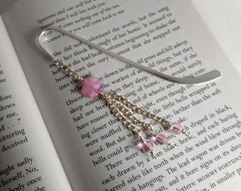 Pink Flower Silver-plated Beaded Bookmark, 5 inches