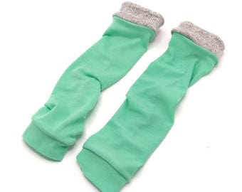 Sea Foam Minty Green LegWarmers with Grey Cuff/ Mint/ Toddler LegWarmers/ Baby Legwarmers/ Thigh high/ knee high/socks