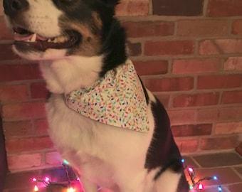 Multicolor Christmas Lights Dog Bandana