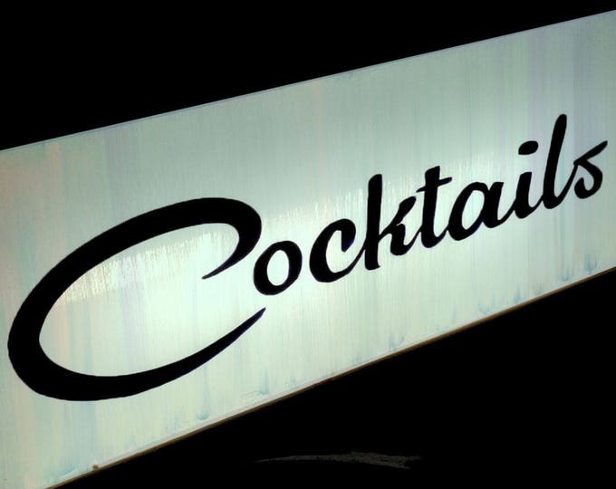 Midcentury Modern Cocktails Custom Light Box Sign with LED Light