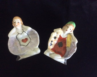 Art Deco Flapper Pin Dishes, Lusterware,  2 dishes, So.....Cute!,  Marked