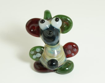 Red & Green Bear Glass Pendant