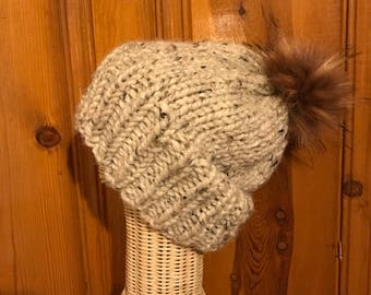 Hand Knit Hat - Cream, Slouchy Winter Hat, Chunky Knit Hat with Faux Fur Pom Pom