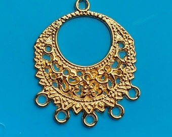 6x round connectors Gold large earring 6 hole chandeliers components plated findings jewellery making drop dangle charms holder 33x27mm UK
