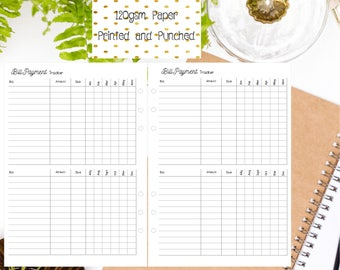 A5 Bill Payment Tracker Inserts for A5 Filofax | Large Kikki K | Carpe Diem and Equivalent Planners