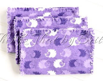 Flannel Baby Burp Cloth // Ragged Edge Burp Cloth // Set of 3 // Purple & White Hedgehog