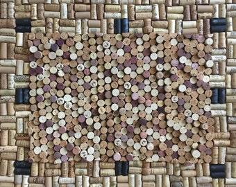 """Large mixed pattern Cork Board in Vintage Gold Frame - 32.5"""" x 38"""""""