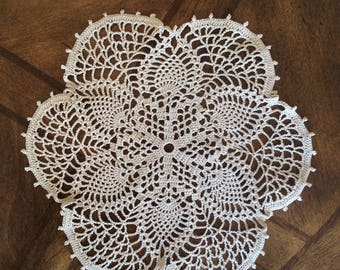 "Crocheted Six Petal Pineapple Design Flower 9-1/2"" Round Ecru Doily with Scallop and Picot Edging"