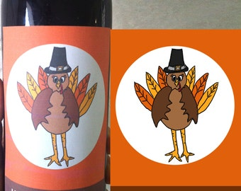 Thanksgiving Wine Labels, Printable Label , Thanksgiving Party, Friendsgiving Party,  Give Thanks, Friendsgiving Decor, gift under 5 dollars