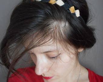 Head-band, retro headband golden, black leather, ivory.