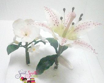 stargazer lily, fondant flower, stephanotis, sugar lilies,  sugar flowers,  exotic fondant flowers,  tropical cake flowers,  cake decorating