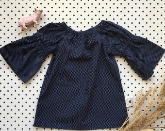 Baby Girl Cotton Dress Gathered Sleeve Neckline ~ Navy Spot