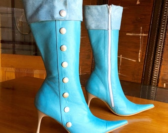 Blue Leather Boots, Light Blue Boots, Fabrizio Fillippa, High Heels, Pointy Toes Boots, High Fashion, EURO Size 37, US Size 7 Boots