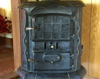 Antique Parlor Stove, Pot Belly Stove, Glorious Windson Stove, Cast Iron Stove, Wood Burning Stove, Southern Decor, Farmhouse Style