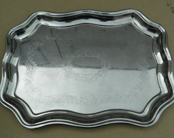 Serving Tray - Stainless Steel - Swan Brand - Vintage Stainless Steel