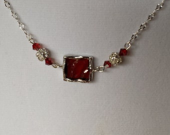Red stained glass pendant with Swarovski crystal beads
