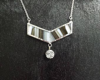 Stained glass chevron necklace