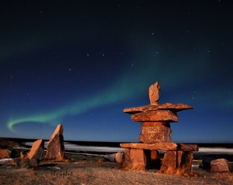 Inukshuk, Northern Lights, Arctic Lights, Aurora Photography, Photo Print, Aurora Borealis, Big Dipper, Night Photography