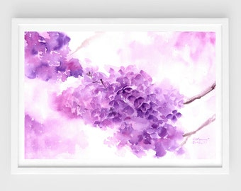 "Original watercolor, purple lilac,original painting,8""x11""8,home decor"