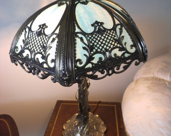 Antique Style Art Nouveau Slag Glass Table Lamp Polychrome Metal Overlay - 1975