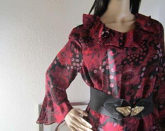 Vintage 80s Paisley chiffon dress dress robe L