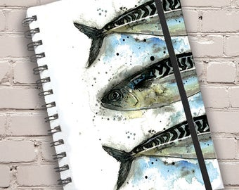 A5 Mackerel Print Hardback Spiral Bound Notebook