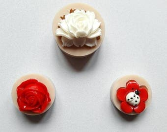 Lot 3 silicone rubber moulds flowers