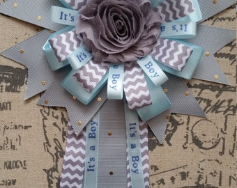 Gray Rosette and Blue Baby Shower Corsage, Mommy to be, Gray chevron Corsage, It's a Boy