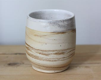 Medium Handmade Pottery Cup – Speckled White Ceramic Tumbler – Marbled Ceramic Cup – Drinking Cup – Pottery Tumbler